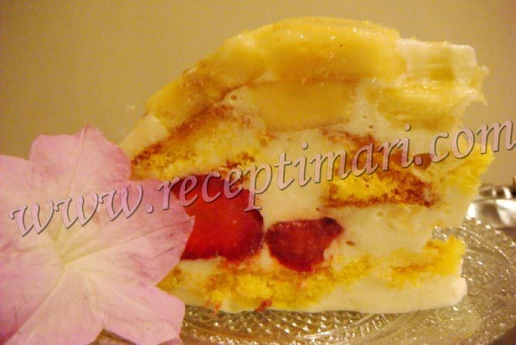 Бисквитный торт кусочками. Сингапур