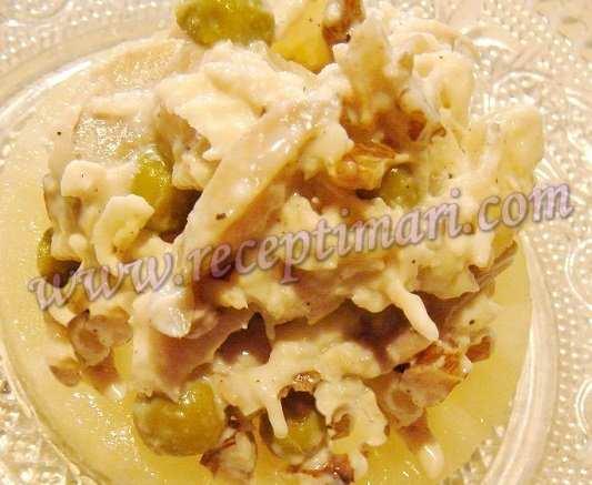 салат  ананас курица и грибы рецепт