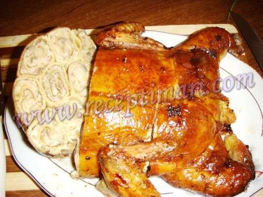 фаршированная курица блинами