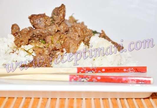 готовим мясо к рису