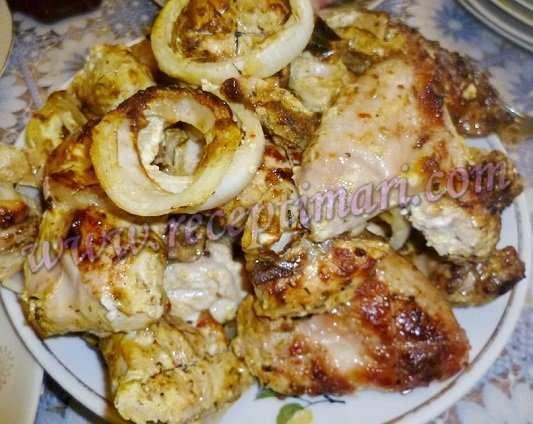 куриное бедро с луком