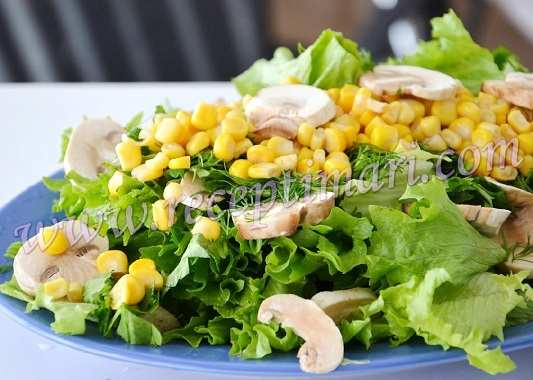 салат с сырыми грибами и кукурузой