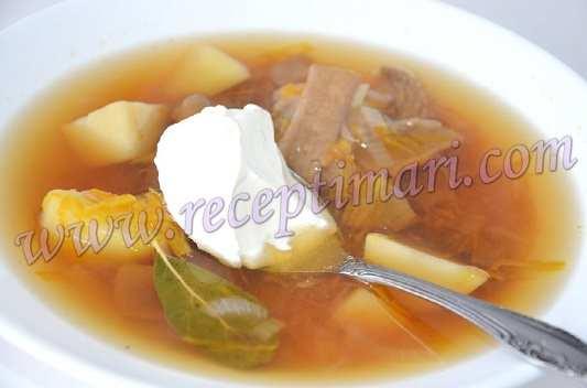 Постный суп из белых грибов