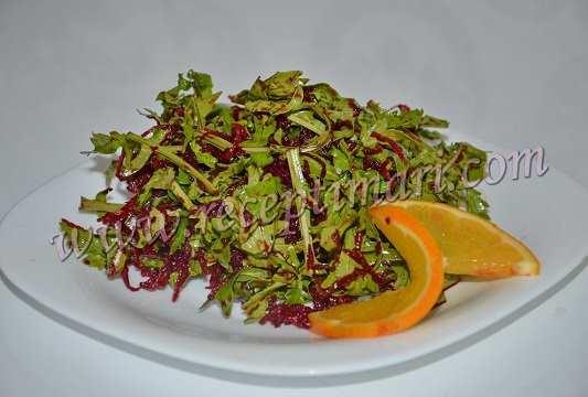 Салат из рукколы и свеклы