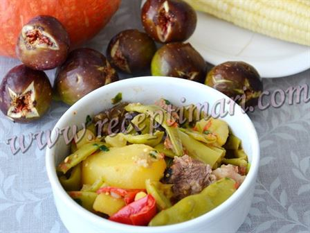 мясо с зеленой фасоли по грузински